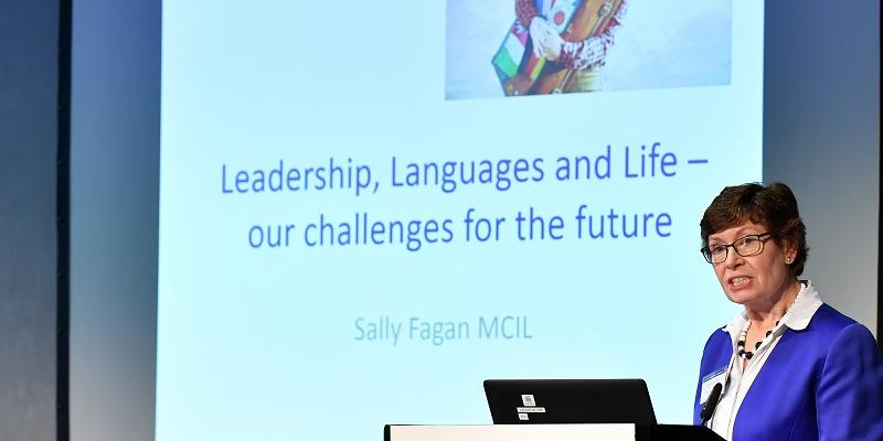 Sally Fagan delivering the Threlford Lecture